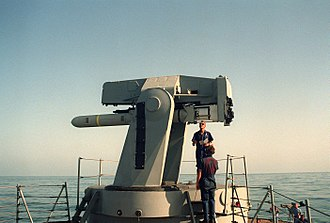 Mark 13 missile launcher - Image: RGM 84 Harpoon on missile launcher of USS Goldsborough (DDG 20) on 1 October 1990 (6476486)