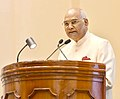 Ram Nath Kovind addressing at the presentation of the National Awards for Outstanding Services in the field of Prevention of Alcoholism and Substance (Drugs) Abuse.JPG