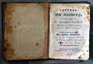 John Rankin (abolitionist) - A copy of John Rankin's book, Letters On Slavery, published in 1826