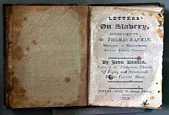 John Rankin (abolitionist) - A copy of John Rankin's book, Letters On Slavery, published in 1826
