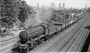 Huddersfield line - Westbound coal train between Ravensthorpe and Mirfield in 1953