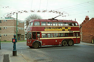 Trolleybus - A double-deck trolleybus in Reading, England, 1966