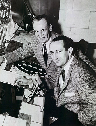 Red Grange - Grange (top) with broadcast partner Lindsey Nelson for NCAA Game of the Week coverage, 1955