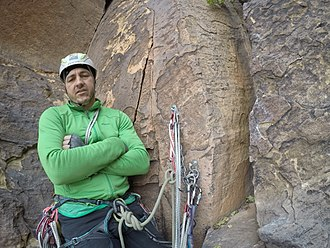Typical bolted belay station with bolts set up for belaying and rappelling Red Rocks - Steve on The Nightcrawler - 1.jpg