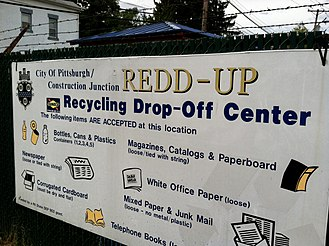 "Western Pennsylvania English - City of Pittsburgh Recycling Drop-Off Center sign using the term ""redd up,"" illustrating an example of Western Pennsylvania English."