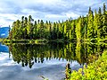 Reflections on Gainor Lake on the Nisga'a Hwy en route to Terrace, BC - (21371440429).jpg
