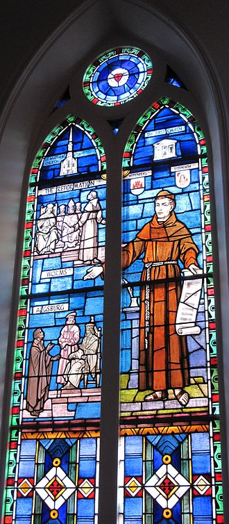 St. Matthew's German Evangelical Lutheran Church - The Reformation window illustrates both sanctuaries and key events in Lutheran history.
