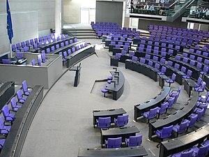 Bundestag plenar hall; Reichstag building, Berlin.