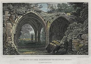 Remains of the cloisters of Margam abbey, Glamorganshire