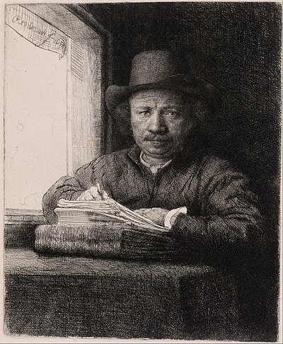 REMBRANDT Self-portrait drawing at a window 1648