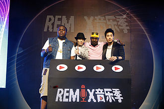 Wilber Pan - Pan, Sean Kingston, Jam Hsiao and Andrew Ballen at a press conference in 2011