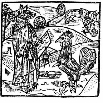 The Morall Fabillis of Esope the Phrygian - A German depiction of the Cock and the Fox, c. 1498