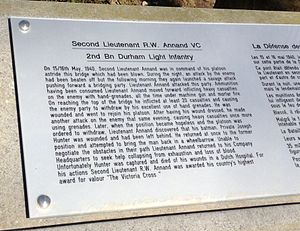 Richard Annand - Plaque to Richard Annan on the bridge over the Dyle