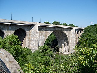 New York State Route 104 - The Veterans Memorial Bridge over the Genesee River.