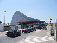 Rock of Gibraltar from the Spanish side of the frontier.jpg