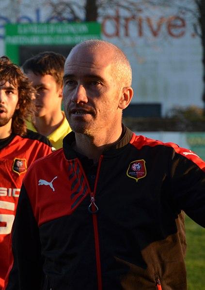 Romain Ferrier entraîneur des moins de 17 ans du Stade rennais, lors d'un match opposant son équipe à l'US Alençon le 8 novembre 2015.