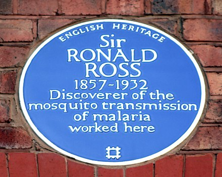 Plaque at Liverpool University - on the Johnston Building, formerly the Johnston Laboratories, near Ashton Street, Liverpool Ronald Ross plaque, Johnston Building, Liverpool.jpg