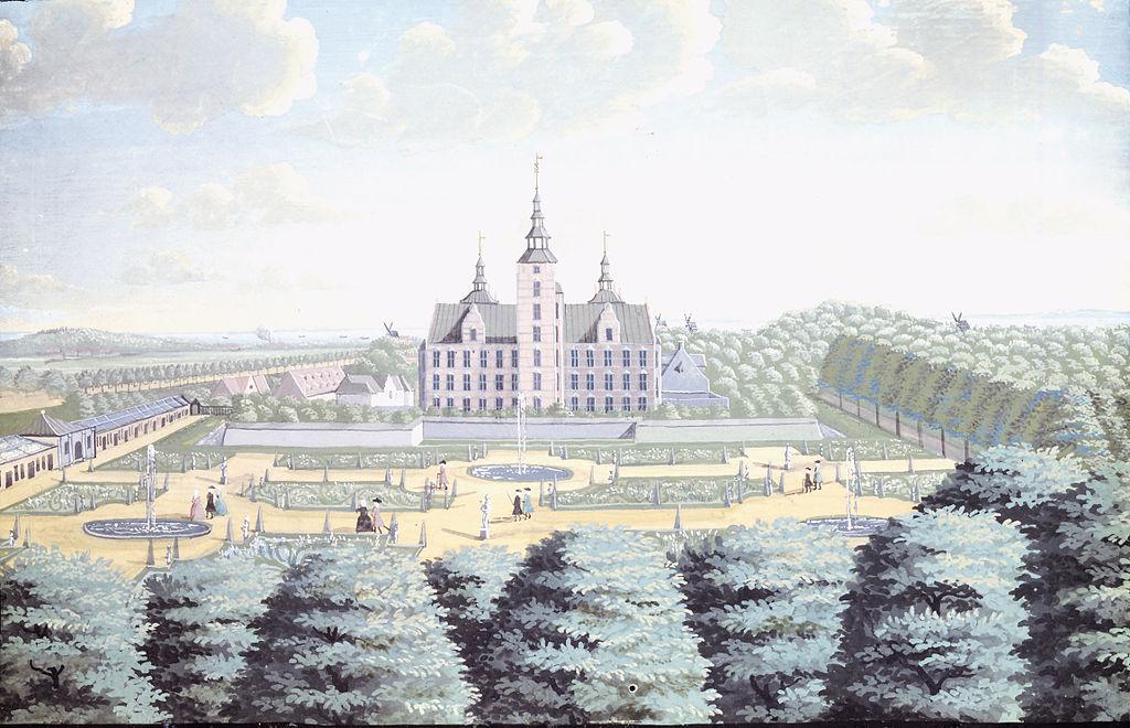 Jardins et chateau de Rosenborg de Copenhague au 18e siècle.