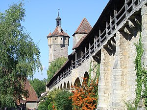 Rothenburg ob der Tauber - Medieval town wall and Klingentorturm, a defensive tower
