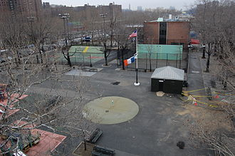 Rucker Park - Rucker Park in 2008, with Frederick Douglass Boulevard at left