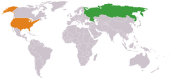Map indicating locations of Russia and USA