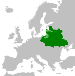 The Polish–Lithuanian Commonwealth (green) with vassal states (light green) at their peak in 1619