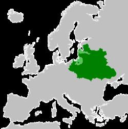 Polsko-litevské společenství (zelené) s vazalskými státy (světle zelené) na svém vrcholu v roce 1619