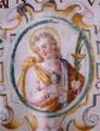 São Manços em iluminura de Duarte Frisão (?), 1596 - Pergaminho de autenticação da Relíquia de São Manços (Arquivo do Cabido da Sé de Évora).png