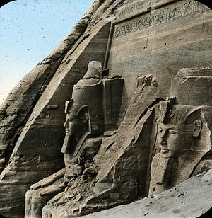 Rock relief - Two of the reliefs at the Abu Simbel temples, before relocation