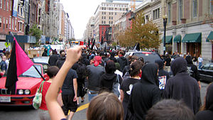Black bloc at September 24, 2005 anti-war protest.