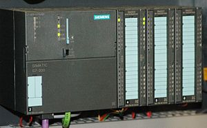 Stuxnet - Siemens Simatic S7-300 PLC CPU with three I/O modules attached
