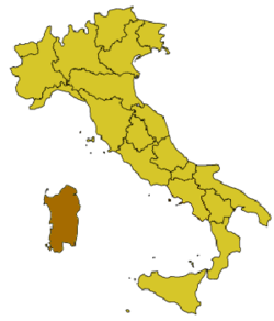 Location of Cagliari (Casteddu)