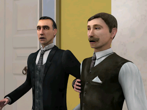 Dr. Watson - Holmes and Watson (right), as appearing in Sherlock Holmes: The Case of the Silver Earring video game.