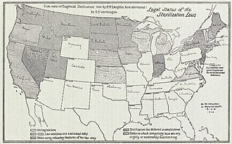 Compulsory sterilization - A map from a 1929 Swedish royal commission report displays the U.S. states that had implemented sterilization legislation by then