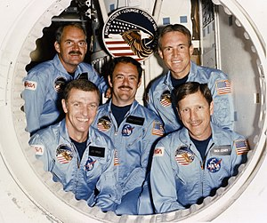 Joe Engle - The crew of the STS-51-I mission.  Engle is at the lower left