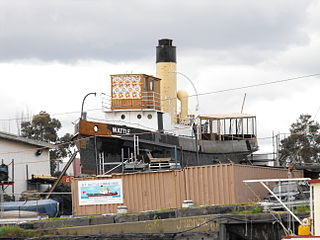 Steam Tug <i>Wattle</i> vessel formerly in commercial service in Victoria Harbour, Melbourne, Australia