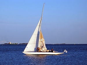 Sailing in front of Helsinki, Finland. 8mR Sag...