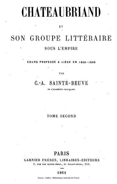 File:Sainte-Beuve - Chateaubriand et son groupe littéraire sous l'Empire, tome 2.djvu