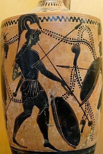Salpinx - Late 6th, early 5th century BC. Vase depicting a soldier playing the salpinx