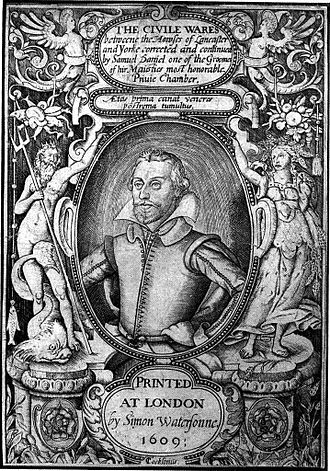 Samuel Daniel - Samuel Daniel. Frontispiece engraving for The Civile Ware (1609) by Thomas Cockson.