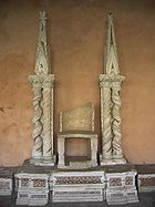 A former papal cathedra in the cloister of the Basilica of Saint John Lateran, Rome.