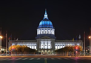 San Francisco City Hall - San Francisco City Hall as seen at night