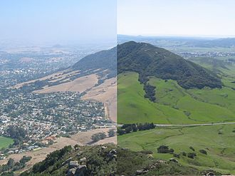 San Luis Obispo, California - Cerro San Luis as seen from Bishop Peak. A montage of two photos taken in September 2006 and March 2007. (The differences between plant cover in the hot and the cold season are typical for the city's Mediterranean climate.)