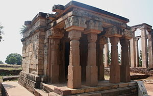 Buddhist architecture - Gupta period temple at Sanchi besides the Apsidal hall with  Maurya foundation