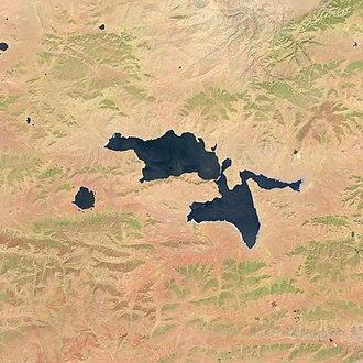 Sangiin Dalai Lake - Image: Sangiin Dalai Lake, Mongolia, Landsat