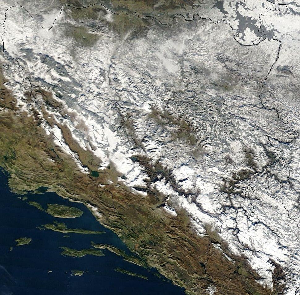 Satellite image of Bosnia and Herzegovina in December 2002
