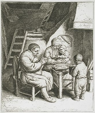 Grace (prayer) - Saying Grace by Dutch painter Adriaen van Ostade, 1653