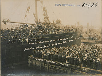 26th Battalion (New Brunswick), CEF - 26th Battalion embarking for Europe, 1915
