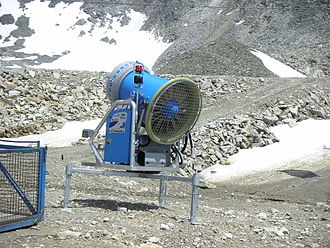 Snowmaking - Rear view of snow cannon at Mölltaler Gletscher, Austria, showing the powerful fan.