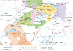 Feudal territories in Switzerland c. 1200. The territory of the house of Kyburg, including their terrories inherited from Lenzburg in 1173, is shown in yellow.